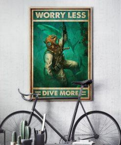 scuba diving worry less dive more vintage poster 3