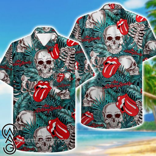 skull and the rolling stones hawaiian shirt