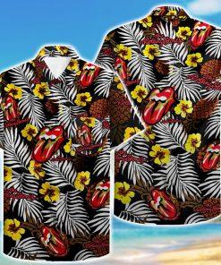 tropical flower the rolling stones hawaiian shirt 1