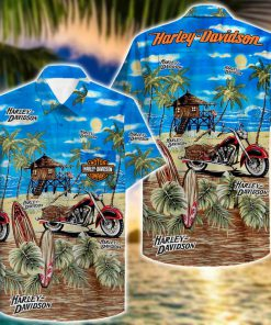 tropical harley-davidson motorcycles hawaiian shirt 2