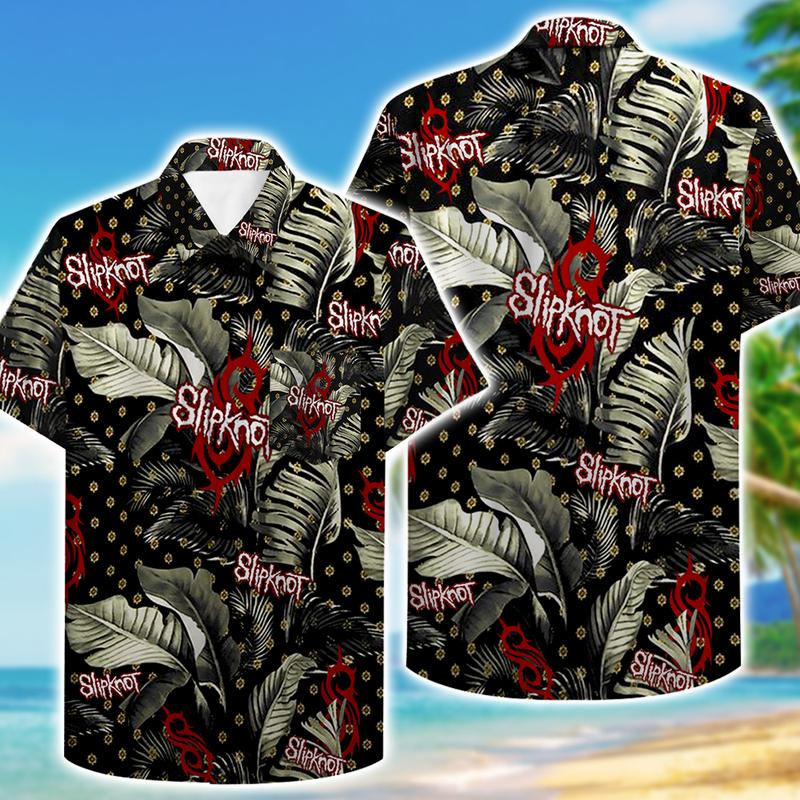 tropical slipknot pattern hawaiian shirt 2