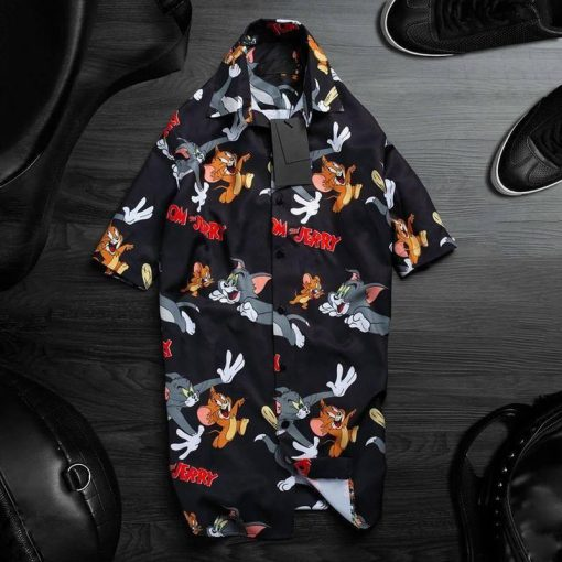 tropical tom and jerry pattern hawaiian shirt 1