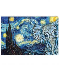 vincent van gogh starry night elephant vintage poster 2