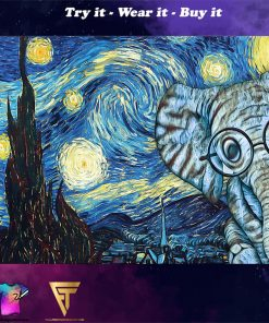 vincent van gogh starry night elephant vintage poster