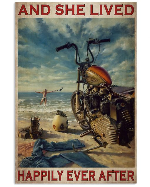 vintage beach life motorcycle girl and she lived happily ever after poster 1