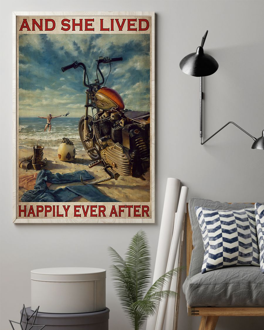 vintage beach life motorcycle girl and she lived happily ever after poster 2