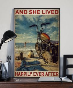 vintage beach life motorcycle girl and she lived happily ever after poster 3