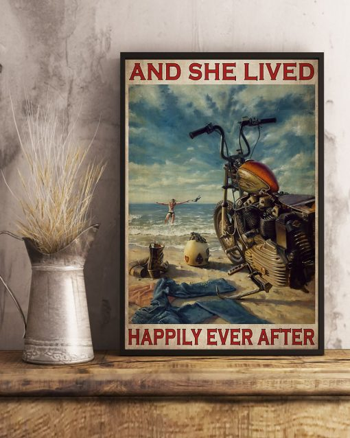 vintage beach life motorcycle girl and she lived happily ever after poster 4