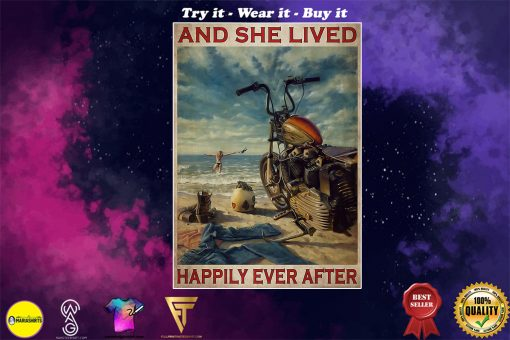 vintage beach life motorcycle girl and she lived happily ever after poster