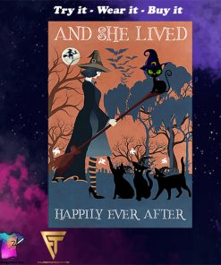 vintage black cat and she lived happily ever after halloween poster