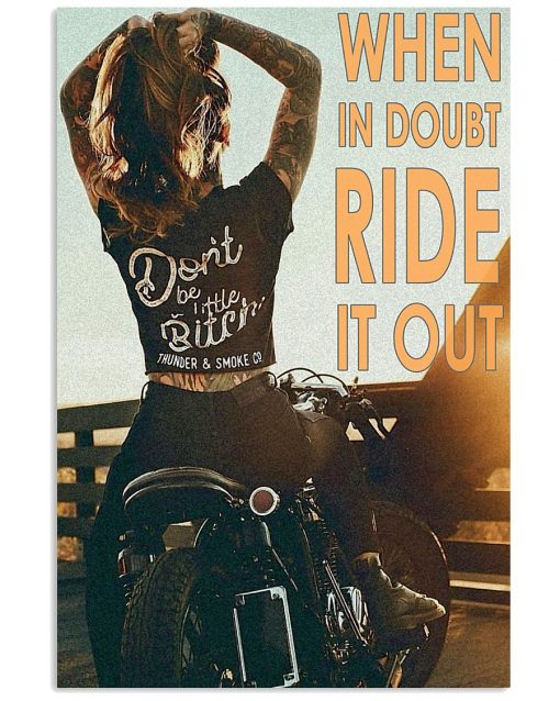 vintage motorcycle girl when in doubt ride it out poster 1