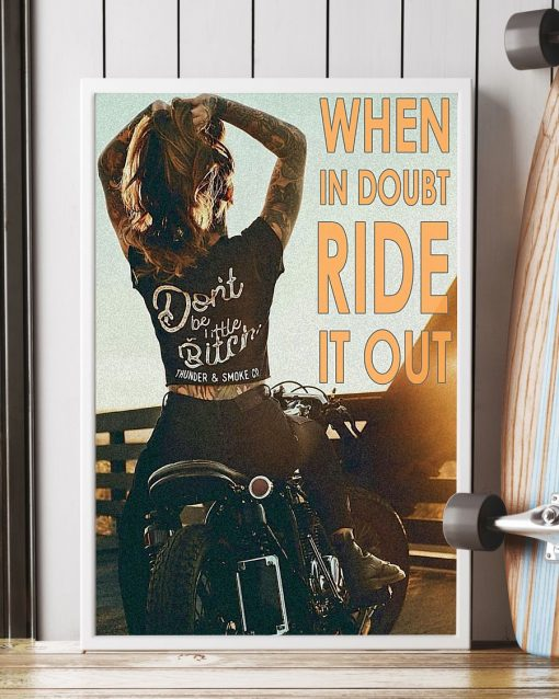 vintage motorcycle girl when in doubt ride it out poster 2