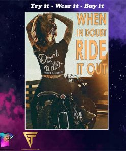 vintage motorcycle girl when in doubt ride it out poster