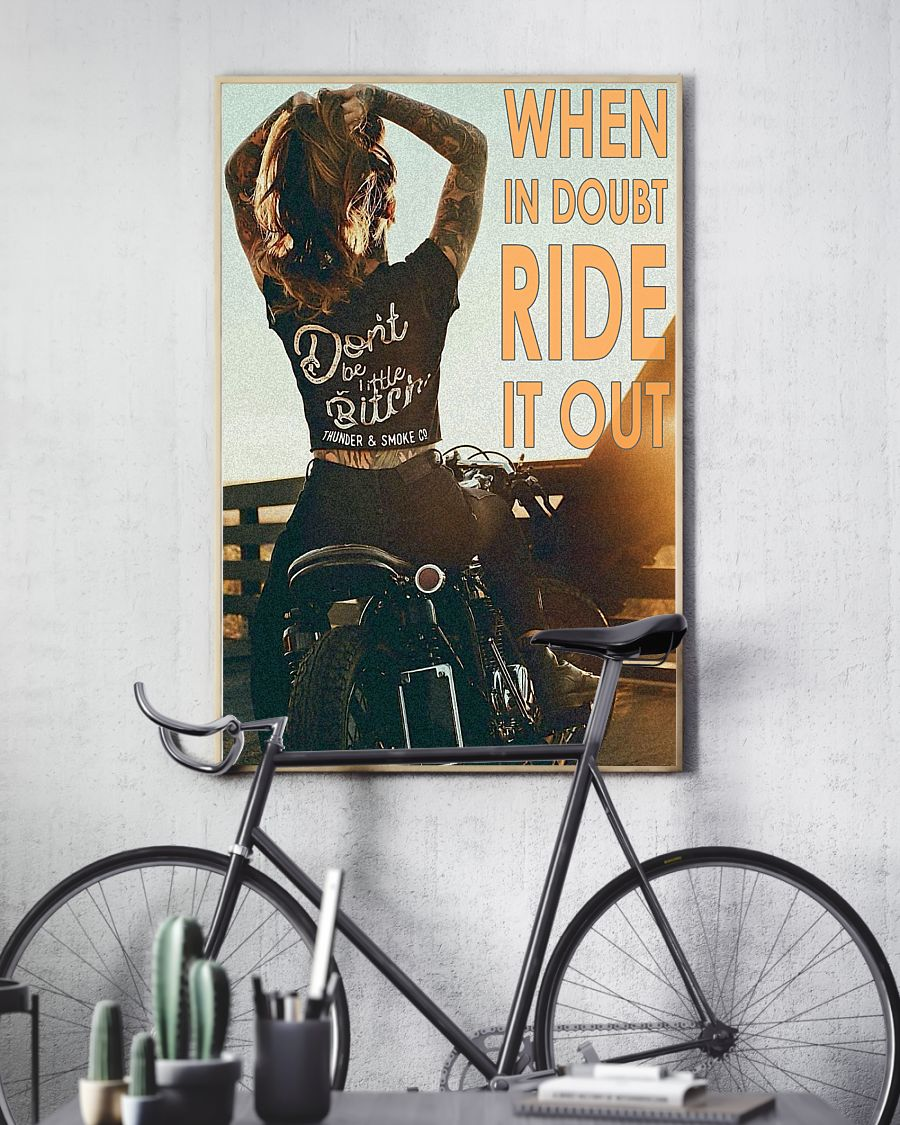 vintage motorcycle girl when in doubt ride it out poster 3