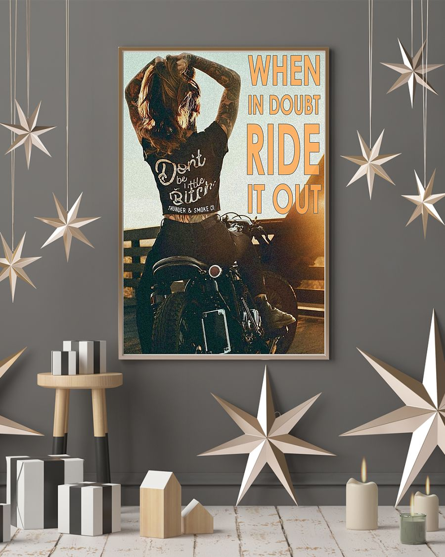 vintage motorcycle girl when in doubt ride it out poster 4