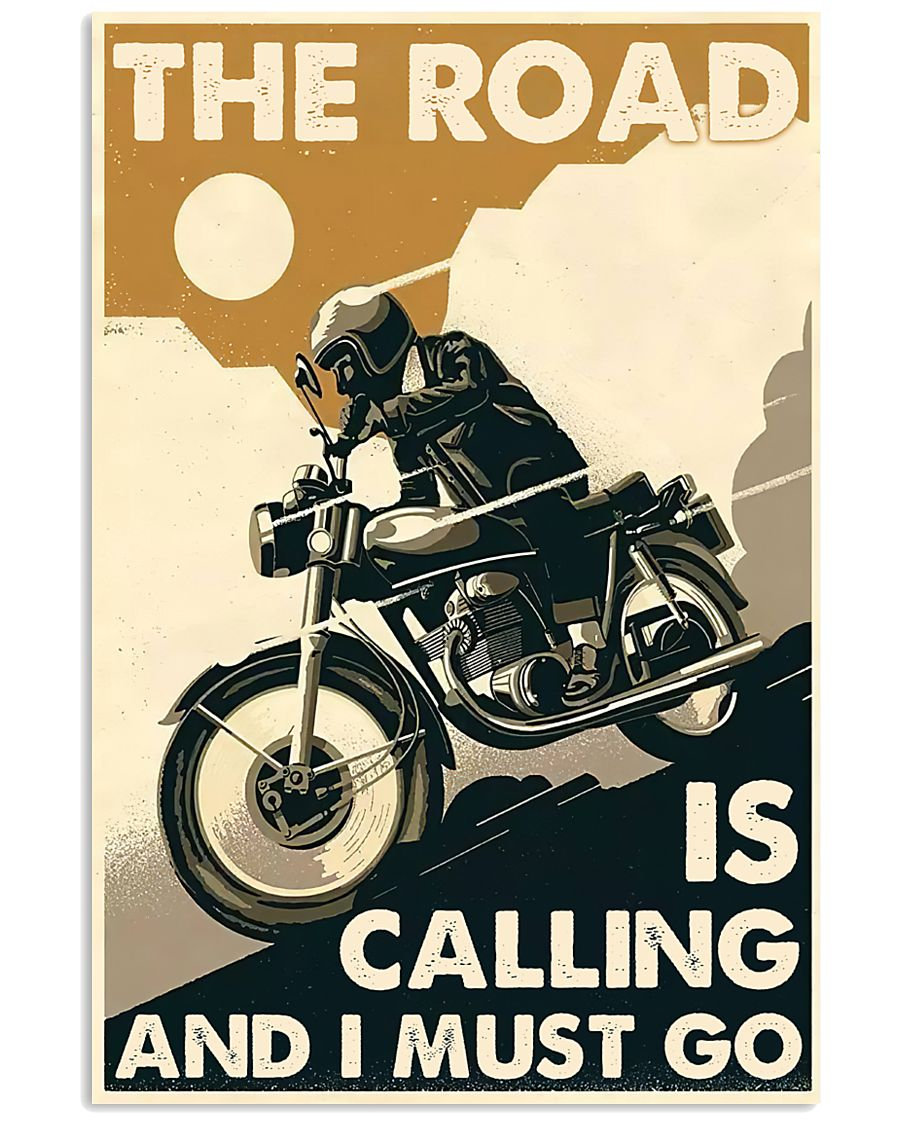 vintage motorcycle the road is calling and i must go poster 1