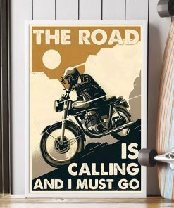 vintage motorcycle the road is calling and i must go poster 2