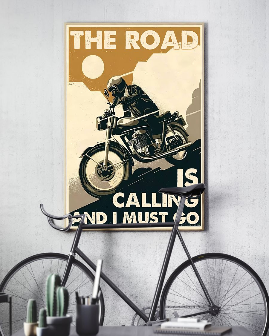 vintage motorcycle the road is calling and i must go poster 3