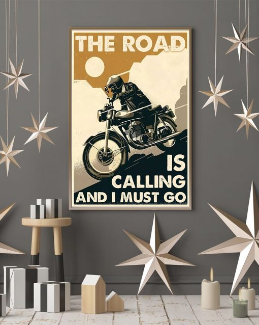 vintage motorcycle the road is calling and i must go poster 4