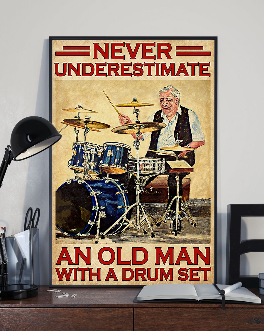 vintage never underestimate an old man with a drum set poster 3