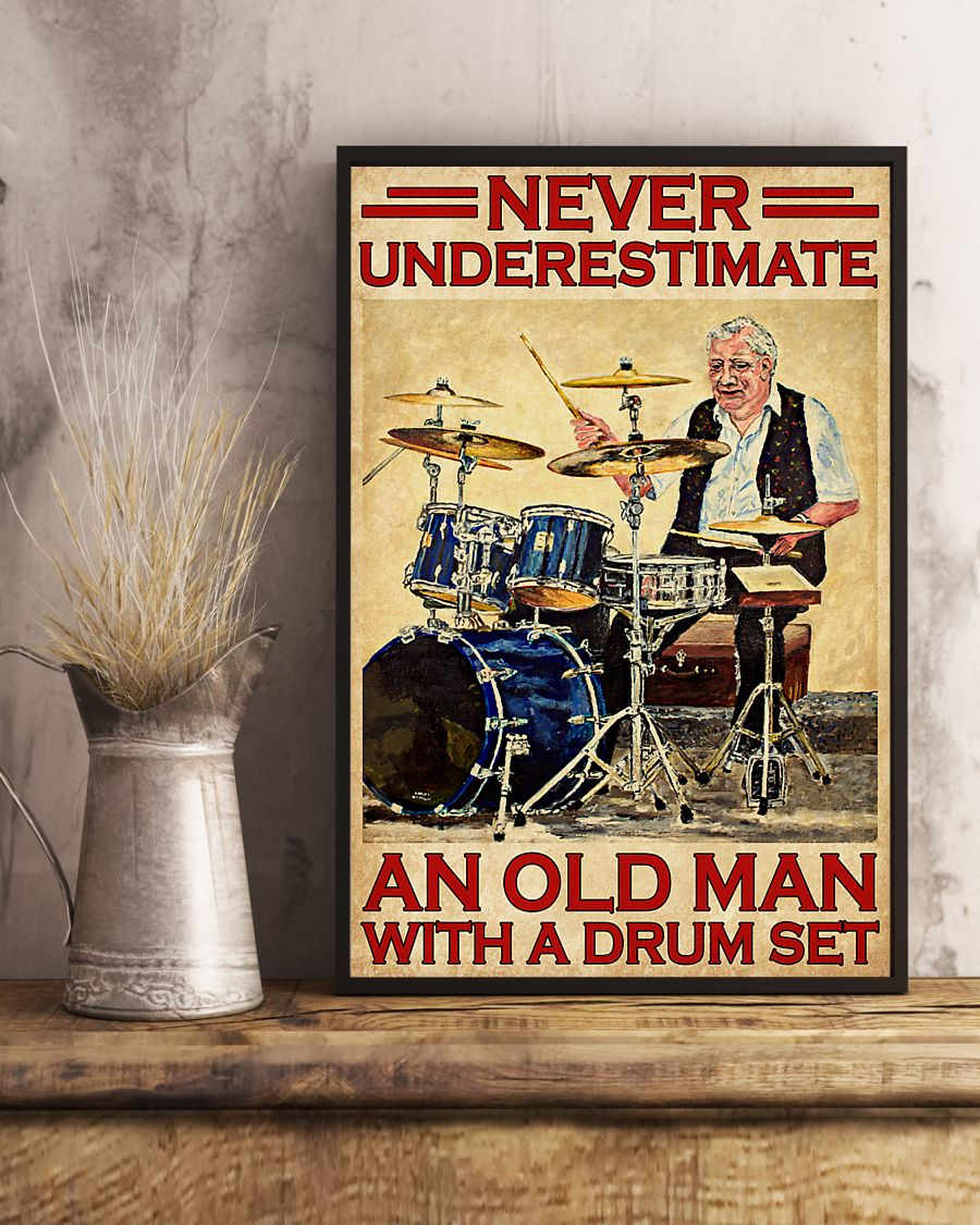 vintage never underestimate an old man with a drum set poster 4