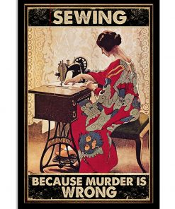 vintage sewing because murder is wrong poster 1