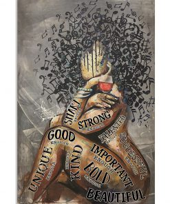 afro girl music and wine i am strong poster 1