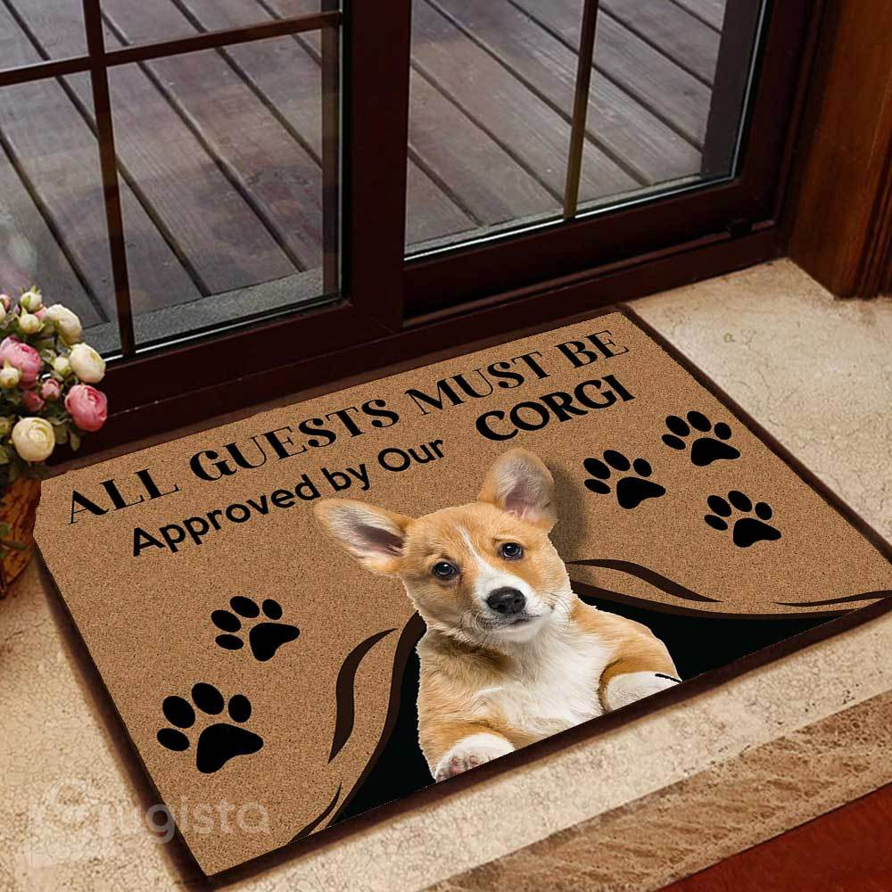 all guests must be approved by our corgi doormat 1