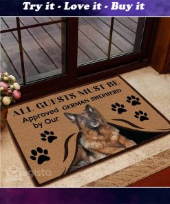 all guests must be approved by our german shepherd doormat 1