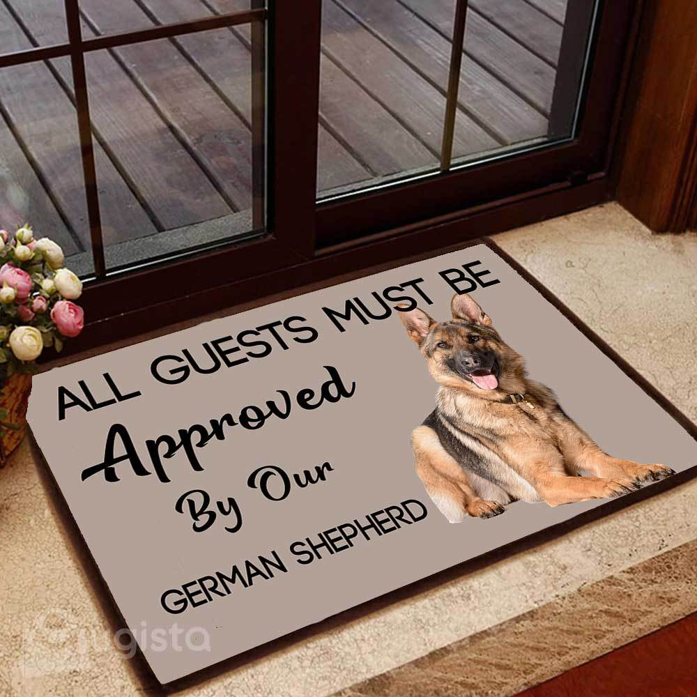 all guests must be approved by our german shepherd lying down doormat 1