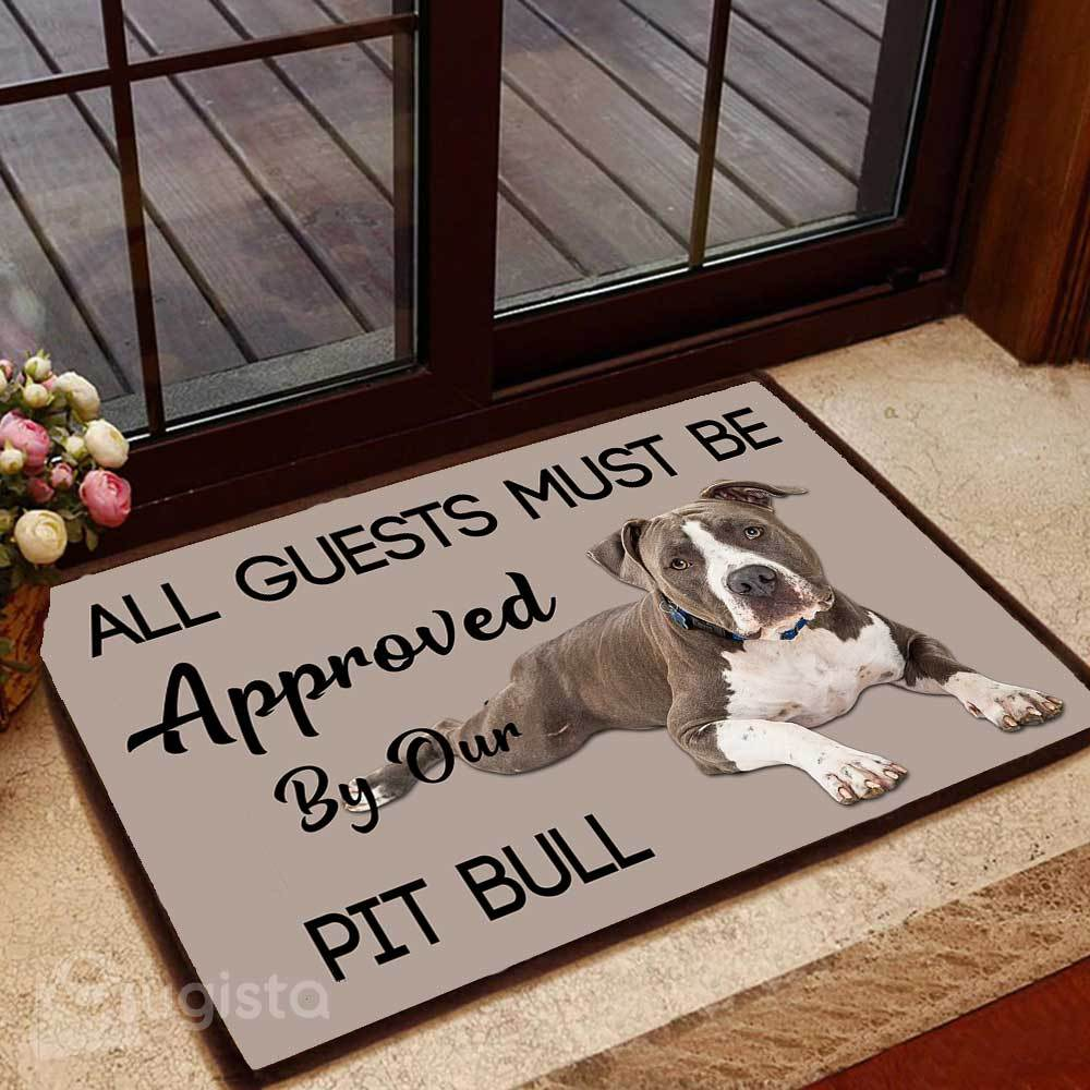 all guests must be approved by our pit bull lying down doormat 1 - Copy (2)