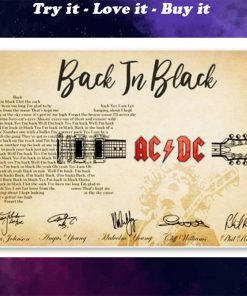 back in black guitar lyrics acdc rockband poster