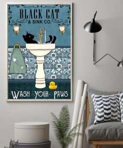 black cat and sink co wash your paws retro poster 2