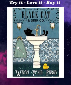 black cat and sink co wash your paws retro poster