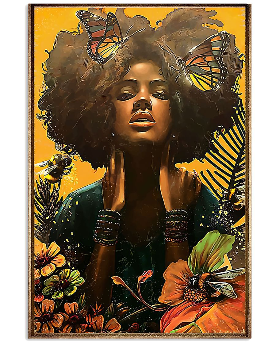 black woman with butterfly watercolor poster 1