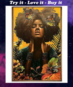 black woman with butterfly watercolor poster