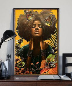black woman with butterfly watercolor poster 3