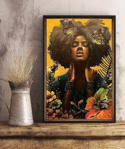 black woman with butterfly watercolor poster 4
