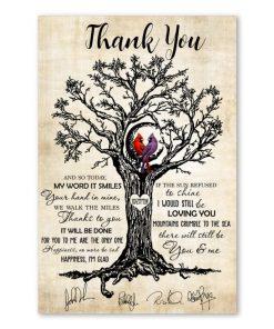 cardinal birds led zeppelin thank you lyrics signatures poster 1