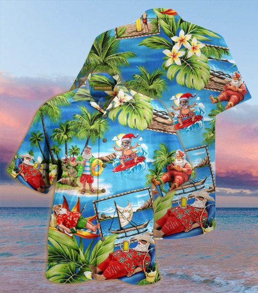 christmas santa claus surfing full printing hawaiian shirt 1