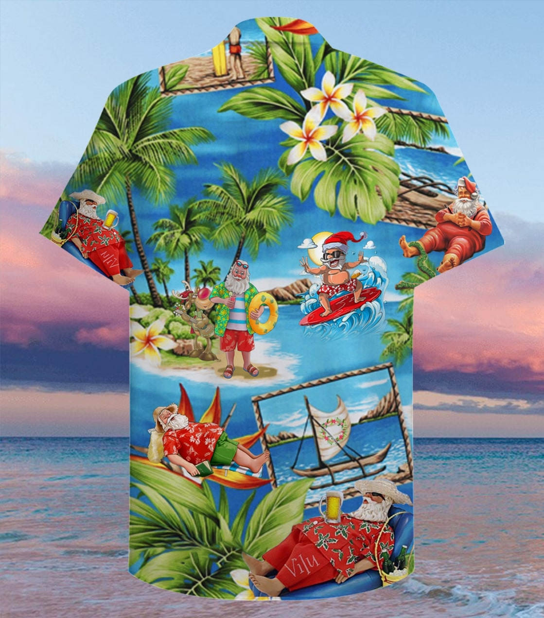 christmas santa claus surfing full printing hawaiian shirt 2