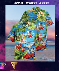 christmas santa claus surfing full printing hawaiian shirt