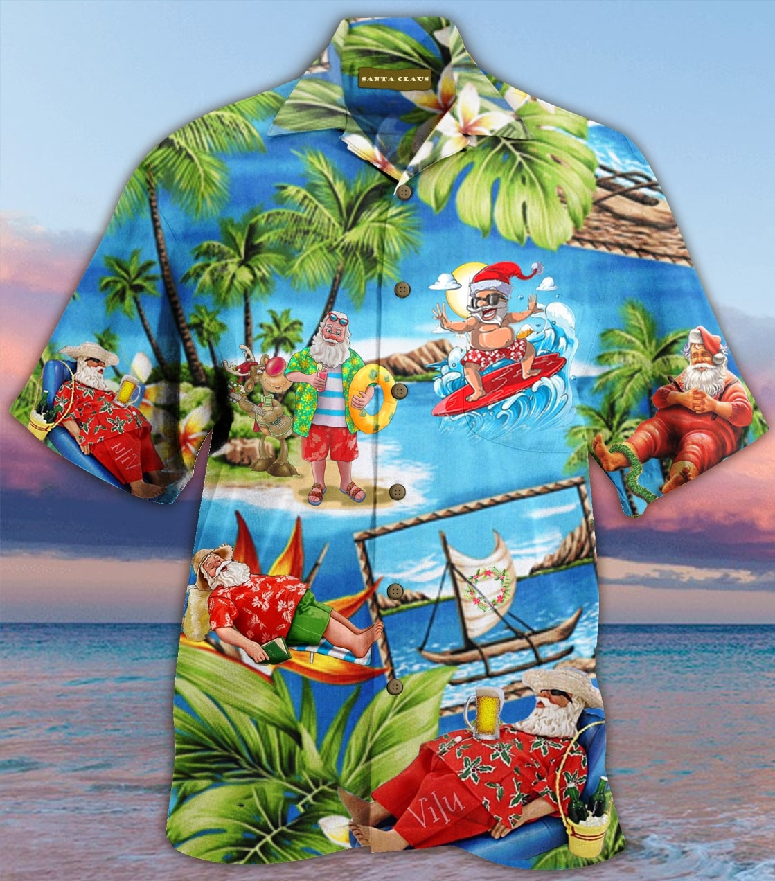 christmas santa claus surfing full printing hawaiian shirt 3