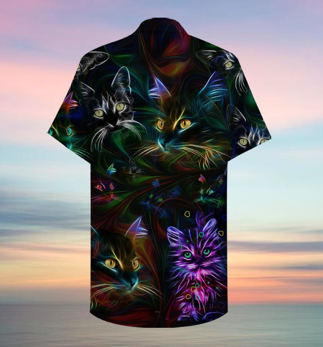 colorful cat full printing hawaiian shirt 2
