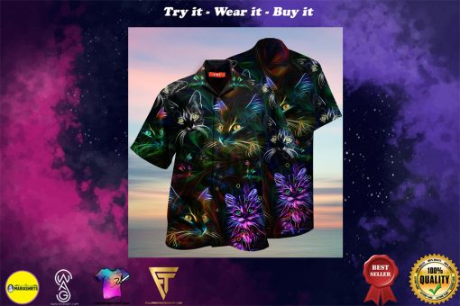 colorful cat full printing hawaiian shirt