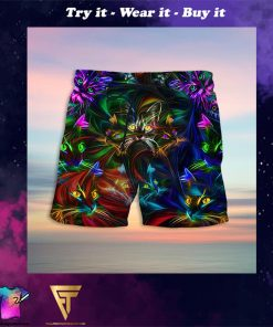 colorful cat full printing hawaiian shorts