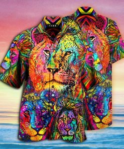 colorful lion king and queen full printing hawaiian shirt 1