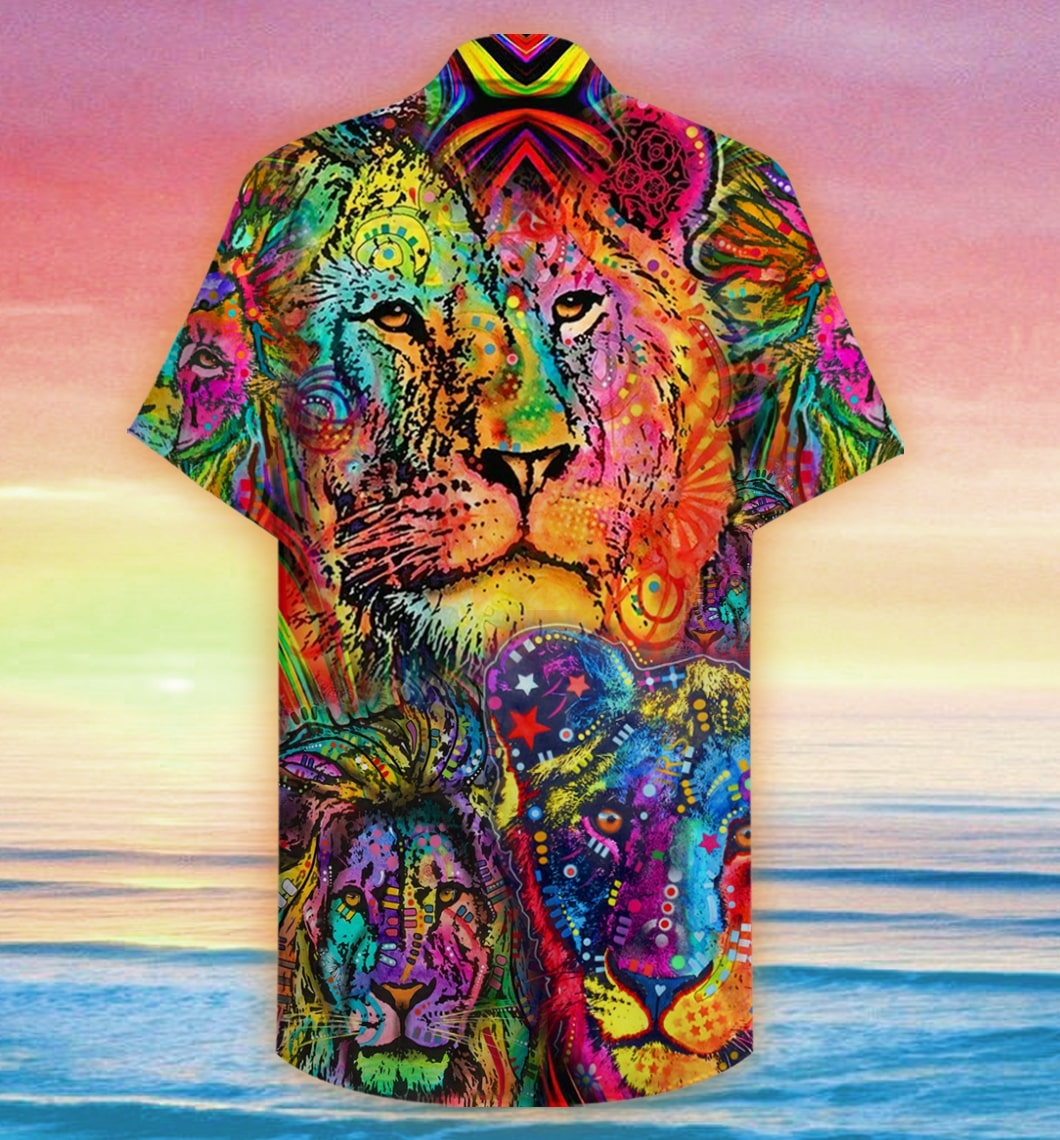 colorful lion king and queen full printing hawaiian shirt 2