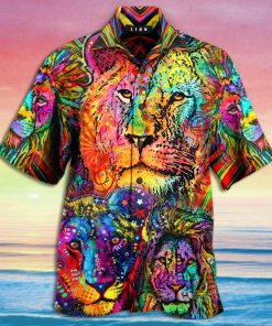 colorful lion king and queen full printing hawaiian shirt 3