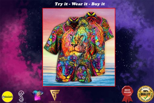 colorful lion king and queen full printing hawaiian shirt